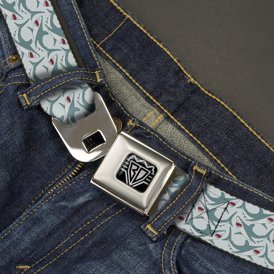 BD Wings Logo CLOSE-UP Full Color Black Silver Seatbelt Belt - Shark 3-Rows Light Blue Webbing