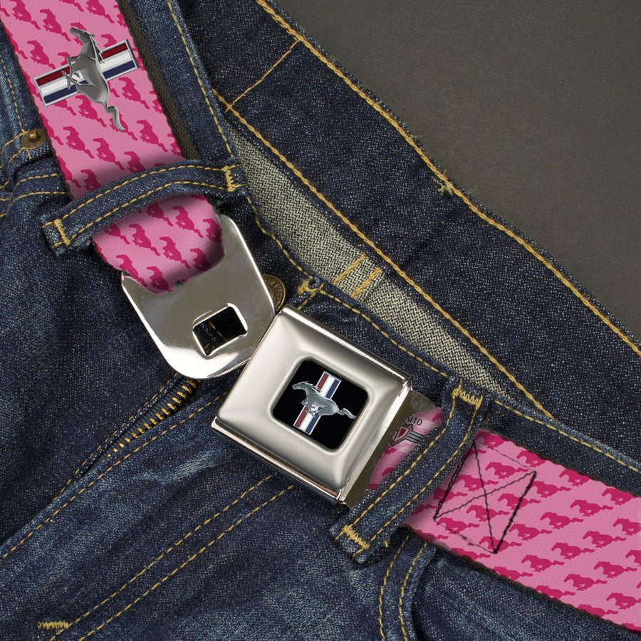 Ford Mustang Emblem Seatbelt Belt - Ford Mustang w/Bars w/Text PINK LOGO REPEAT Webbing