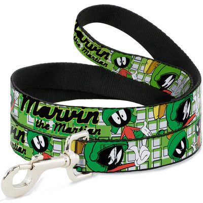 Dog Leash - MARVIN THE MARTIAN w/Poses White/Green