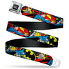DC Round Logo Black/Silver Seatbelt Belt - Classic Batman/Joker & Superman/Lex Luthor Halftone Black/Blue Webbing