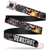Suicide Squad Target Full Color Black/Red Seatbelt Belt - DEADSHOT Face/Pose/Targets/Bullets Webbing