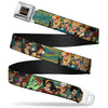 DC COMICS BOMBSHELLS Rays Full Color Black Gray Orange-Red Fade Seatbelt Belt - 12-DC COMICS BOMBSHELLS Pose Rays/Stars Blues/Pink/Yellow Webbing
