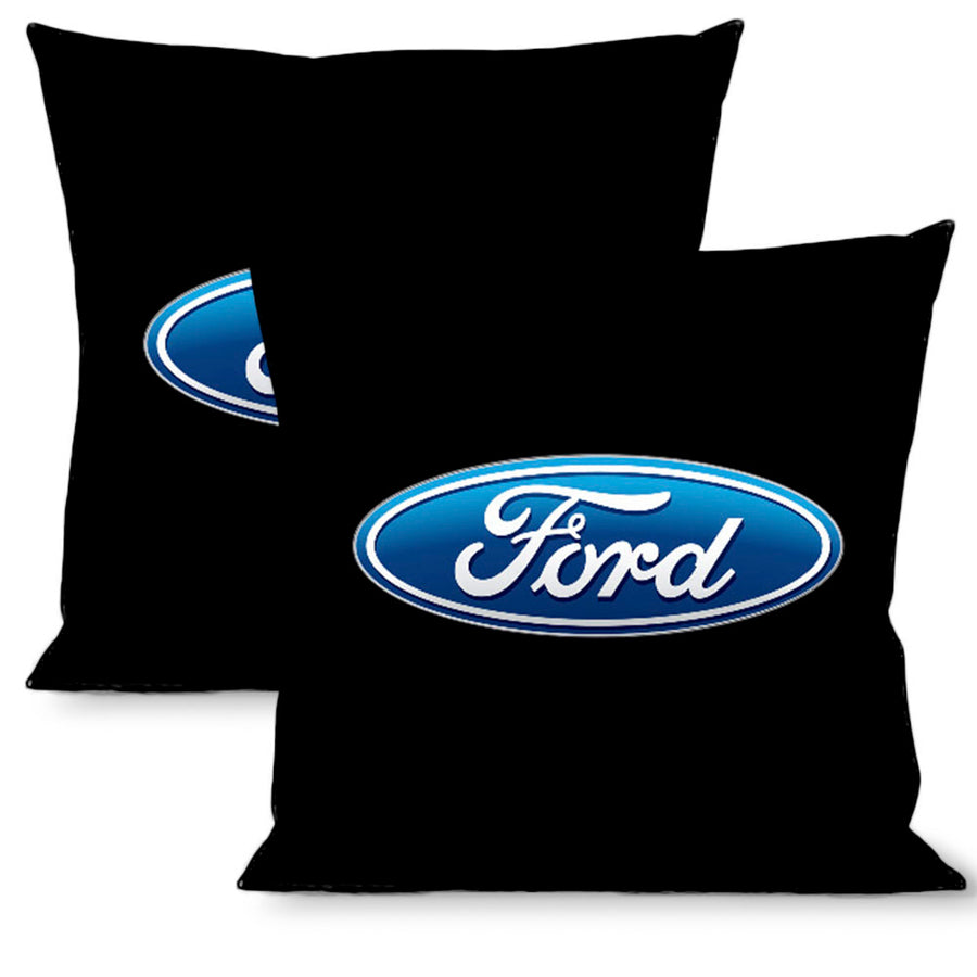 Pillow - THROW - Ford Oval Logo Black Blue