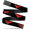 Black Buckle Web Belt - Nightwing Logo Black/Red Webbing