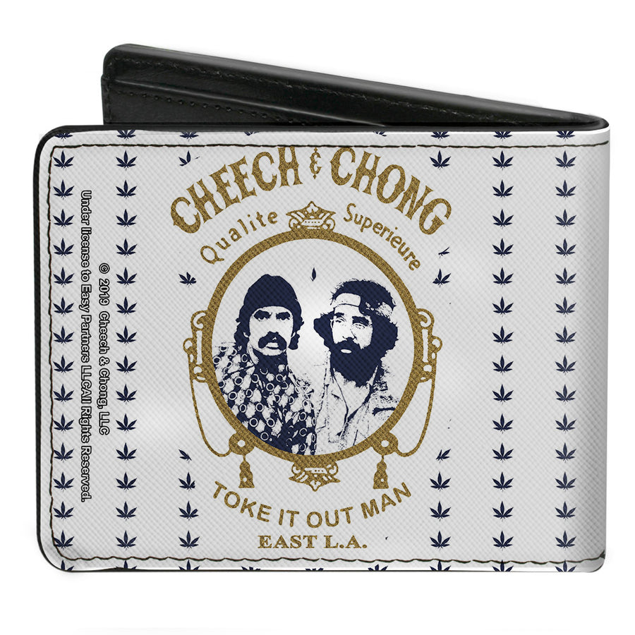Bi-Fold Wallet - CHEECH & CHONG Rolling Papers Mirror Pot Leaves White Blue Gold