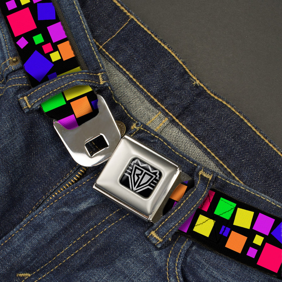 BD Wings Logo CLOSE-UP Full Color Black Silver Seatbelt Belt - Squares Black/Multi Color Webbing