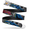 MARVEL COMICS Marvel Comics Logo Full Color Seatbelt Belt - BLACK PANTHER Action Poses/Stacked Comics Grays/Yellow/Blue/Red Webbing