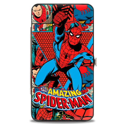 MARVEL COMICS Hinged Wallet - THE AMAZING SPIDER-MAN Action Pose Retro Comic Blocks