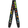 Guitar Strap - DC Originals SUPER HEROES HAVE ISSUES TOO! Faces Issues Black