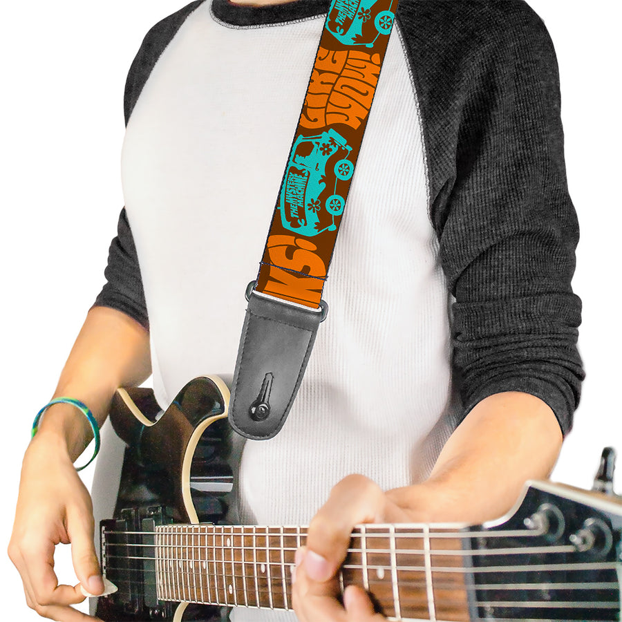 Guitar Strap - ZOINKS! LIKE WOW! The Mystery Machine Brown Baby Blue
