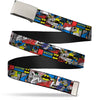 Chrome Buckle Web Belt - Batman & Joker Comic Blocks Webbing