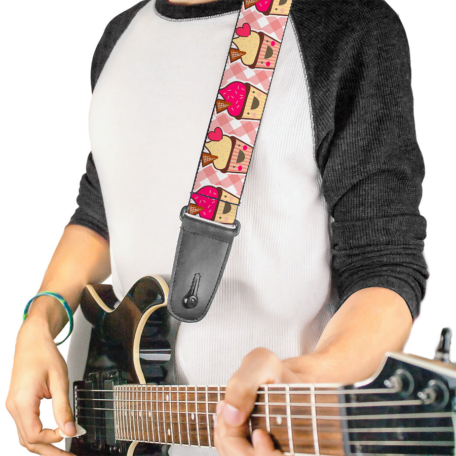 Guitar Strap - Happy Cupcakes Buffalo Plaid White Pink