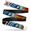 Wonder Woman Logo Full Color Red Seatbelt Belt - Wonder Woman Face w/Stars Webbing