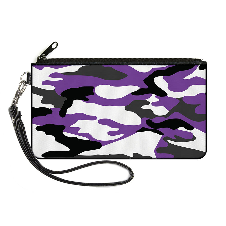Canvas Zipper Wallet - LARGE - Camo Purple Black Gray White