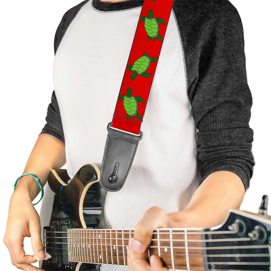 Guitar Strap - Sea Turtles Red Green