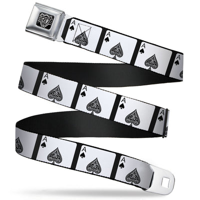 BD Wings Logo CLOSE-UP Full Color Black Silver Seatbelt Belt - Ace of Spades Webbing