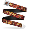 Flash Logo3 Full Color Black Gold Red Seatbelt Belt - THE FLASH/Logo3/Poses Black/Red/Gold Webbing