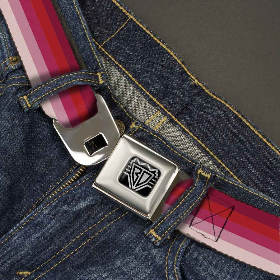 BD Wings Logo CLOSE-UP Full Color Black Silver Seatbelt Belt - Spectrum Pink Webbing