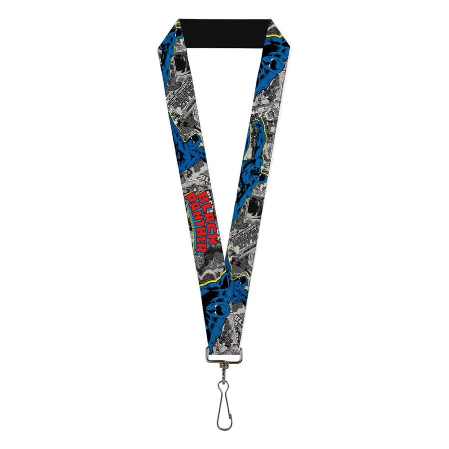 "MARVEL COMICS Lanyard - 1.0"" - BLACK PANTHER Action Poses Stacked Comics Grays Yellow Blue Red"