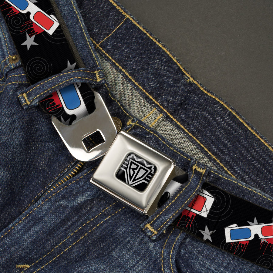 BD Wings Logo CLOSE-UP Full Color Black Silver Seatbelt Belt - 3-D Glasses Dripping w/Stars Webbing