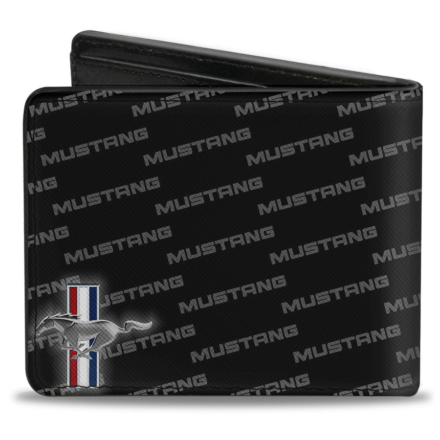 Bi-Fold Wallet - Ford Mustang w Bars CORNER w Text
