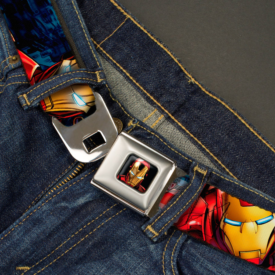 MARVEL AVENGERS Iron Man 3-D Face Full Color Seatbelt Belt - Iron Man Action1 Webbing