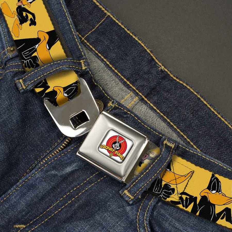 Looney Tunes Logo Full Color White Seatbelt Belt - DAFFY DUCK w/Poses Yellow/Black Webbing