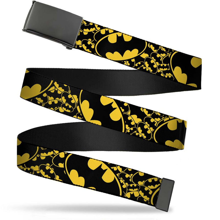 Black Buckle Web Belt - Bat Signals Stacked w/CLOSE-UP Yellow/Black Webbing