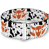 Cinch Waist Belt - Toy Story Woody Bounding Cowboy Cow Print White Black Brown