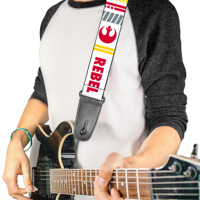 Guitar Strap - Star Wars REBEL PILOT Rebel Alliance Insignia Lightsaber X-Wing Fighter White Red Yellow Gray