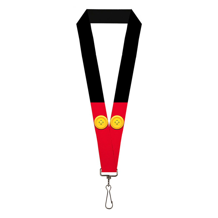 "Lanyard - 1.0"" - Mickey Mouse Bounding Buttons Black Red Yellows"