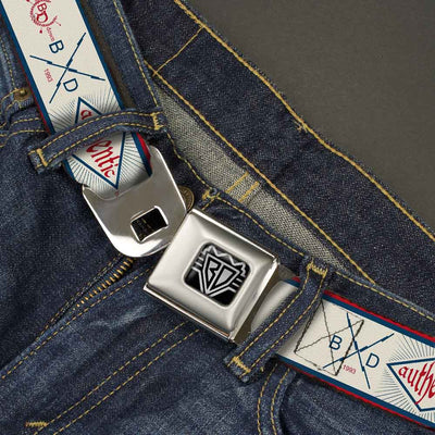 BD Wings Logo CLOSE-UP Full Color Black Silver Seatbelt Belt - BD AUTHENTIC SEATBELT BELT White/Blue/Red Webbing