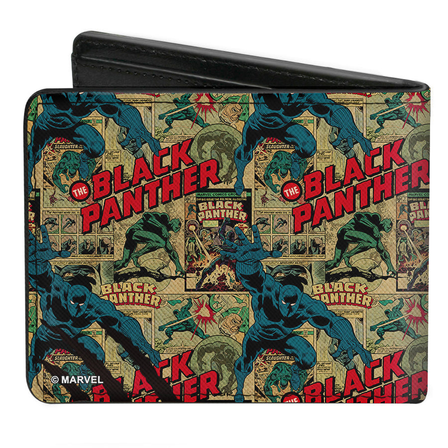 MARVEL COMICS Bi-Fold Wallet - THE BLACK PANTHER Action Poses Issue #2 Cover Comic Blocks