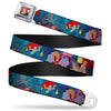 Ariel & Flounder Swimming Full Color Seatbelt Belt - The Little Mermaid Under the Sea Scenes2-Octopus/Snails Webbing