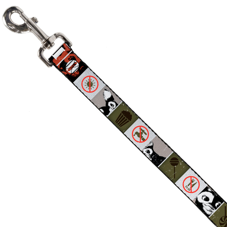 Dog Leash - Gremlins GIZMO Poses/Rules Blocks Red/Greens/Grays/White