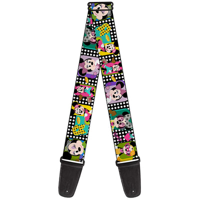 Guitar Strap - Mini Minnie Fashion Poses Polka Dot Black White Multi Color
