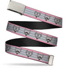 Chrome Buckle Web Belt - Soft Kitty Nerd/Mustacho Expressions Stripe Grays Webbing