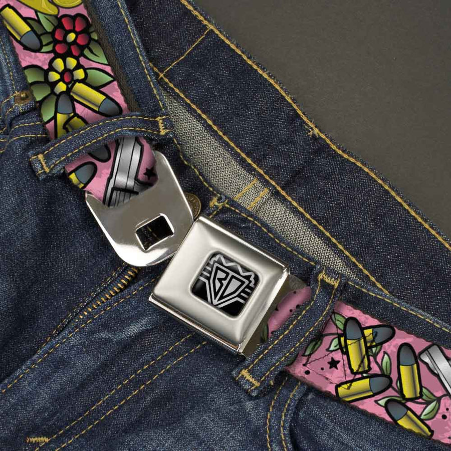 BD Wings Logo CLOSE-UP Full Color Black Silver Seatbelt Belt - Born to Raise Hell Pink Webbing
