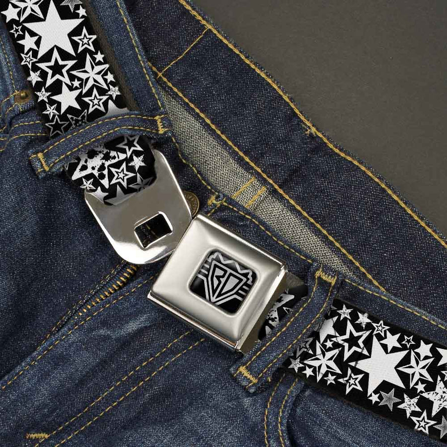 BD Wings Logo CLOSE-UP Full Color Black Silver Seatbelt Belt - Stargazer Black/White Webbing
