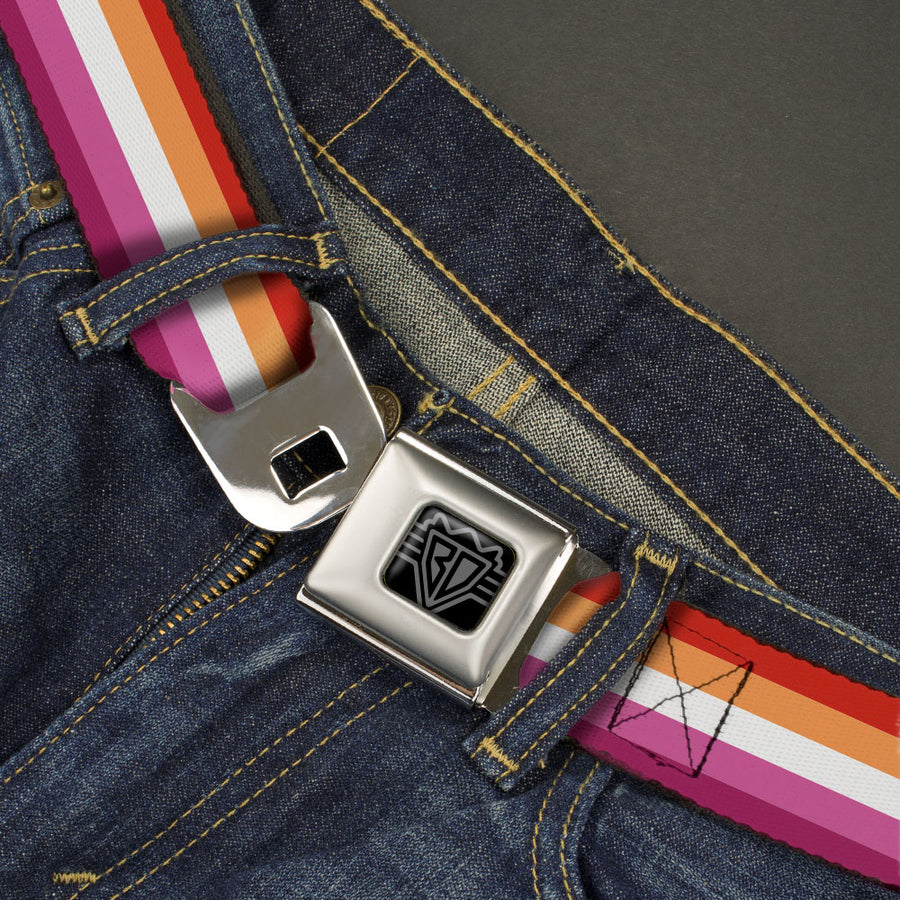 BD Wings Logo CLOSE-UP Black/Silver Seatbelt Belt - Flag Lesbian Five Stripe Oranges/White/Pinks Webbing
