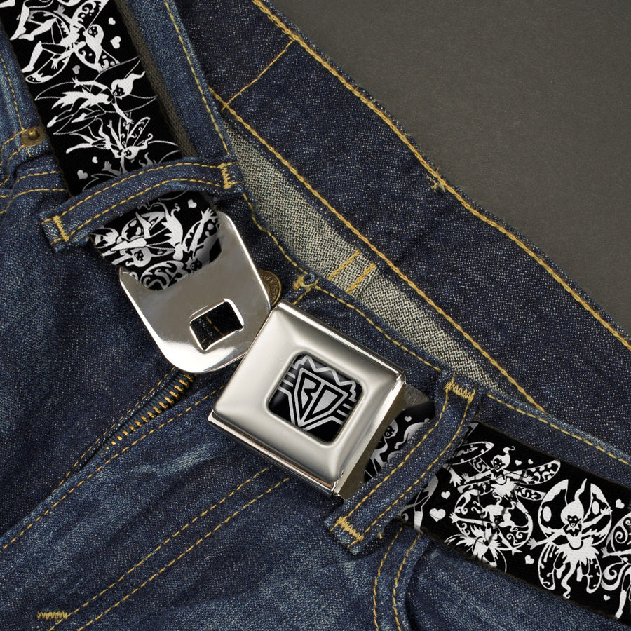 BD Wings Logo CLOSE-UP Full Color Black Silver Seatbelt Belt - TJ-Fairies Black/White Webbing