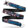 MARVEL AVENGERS MARVEL AVENGERS Logo Full Color Black Red White Seatbelt Belt - CAPTAIN AMERICA w/Avengers Logo Cityscape Webbing