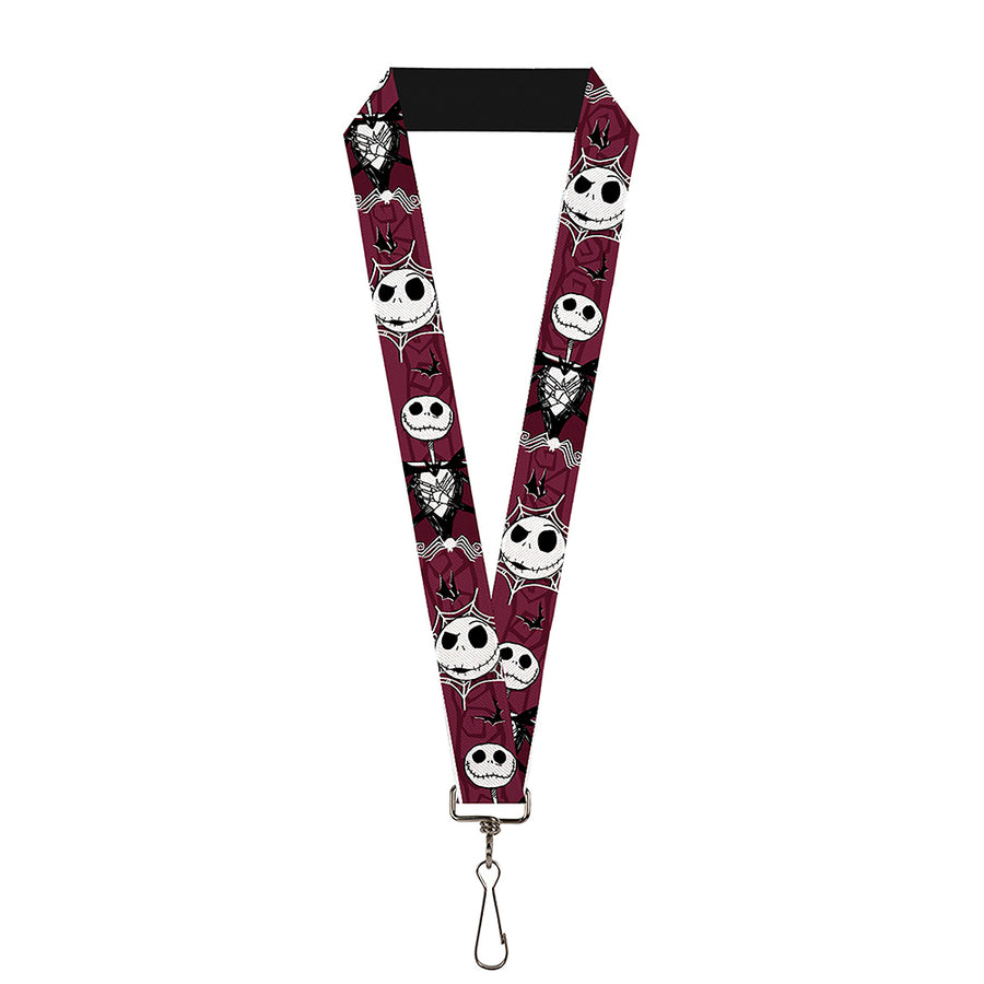 "Lanyard - 1.0"" - Nightmare Before Christmas Jack Face Corpse Pose Bats Reds Black White Grays"