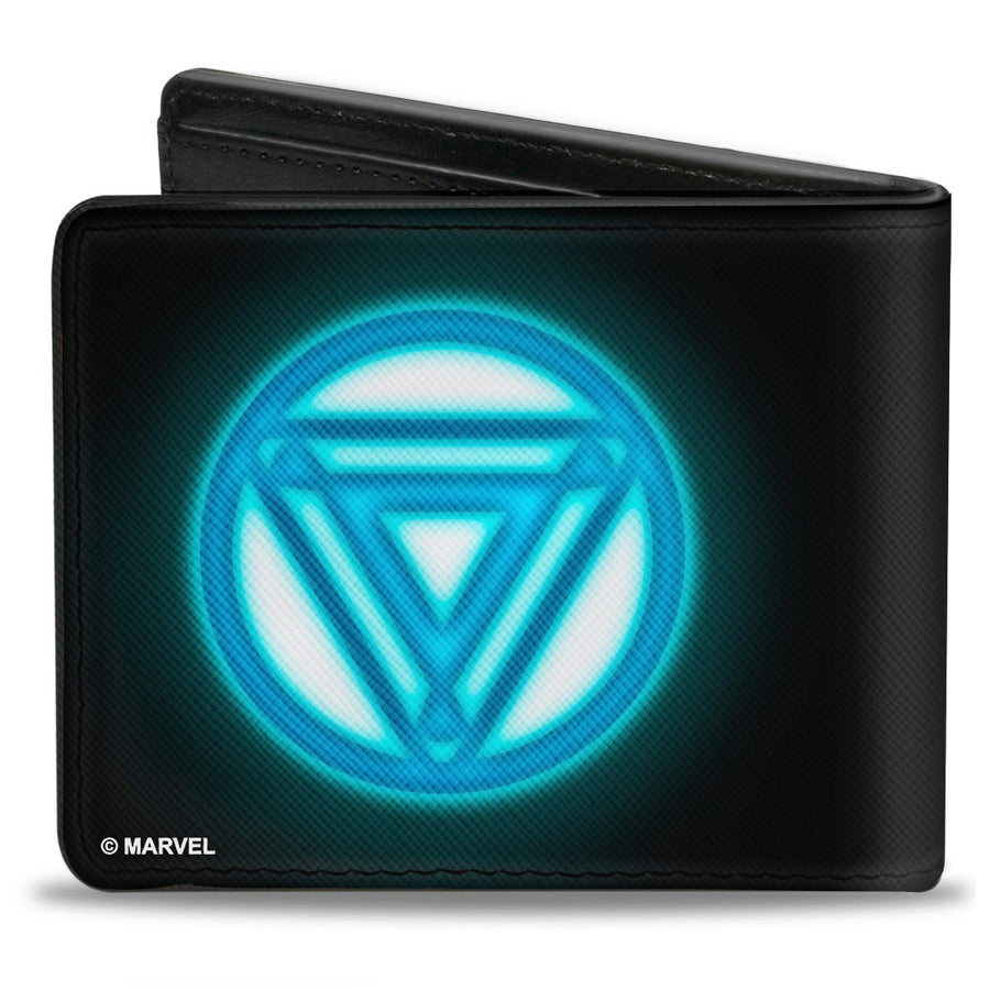 MARVEL AVENGERS Bi-Fold Wallet - Iron Man Arc Reactor Black Blue Glow