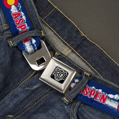 BD Wings Logo CLOSE-UP Full Color Black Silver Seatbelt Belt - Colorado ASPEN Flag/Snowy Mountains Weathered Blue/White/Red/Yellows Webbing