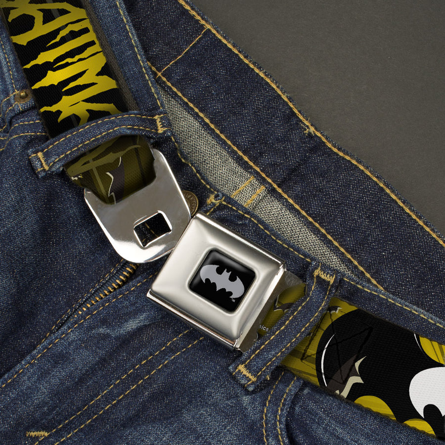 Batman Black Silver Seatbelt Belt - BATMAN w/Bat Signals & Flying Bats Yellow/Black/White Webbing