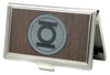 Business Card Holder - SMALL - Green Lantern Logo Marquetry Black Walnut Metal