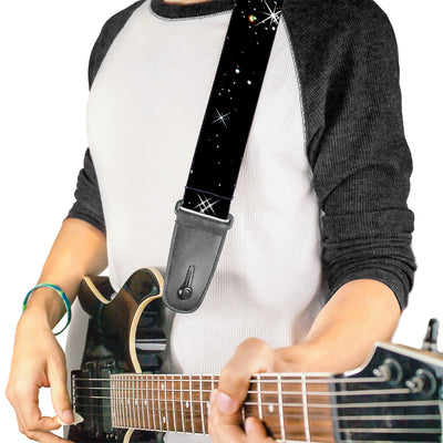 Guitar Strap - Shining Stars Black White