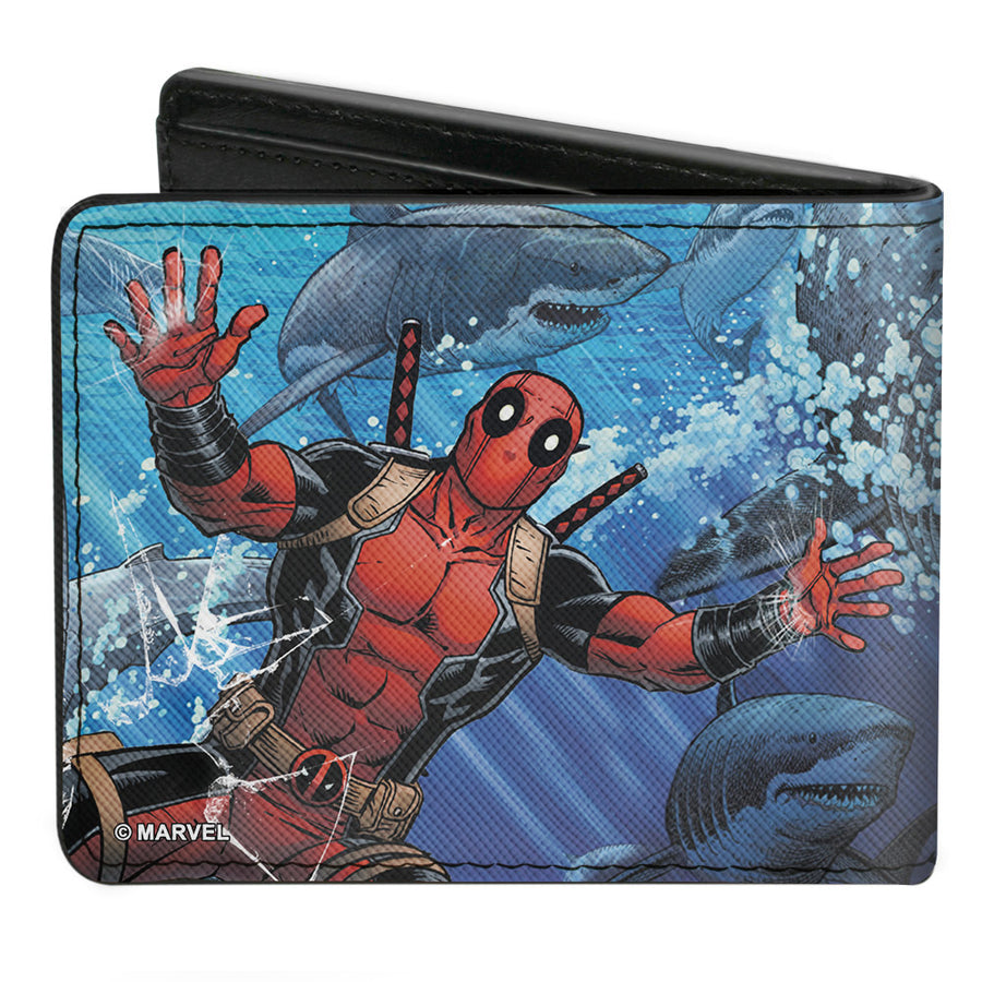 MARVEL DEADPOOL Bi-Fold Wallet - Deadpool Underwater Shark Scenes Blues