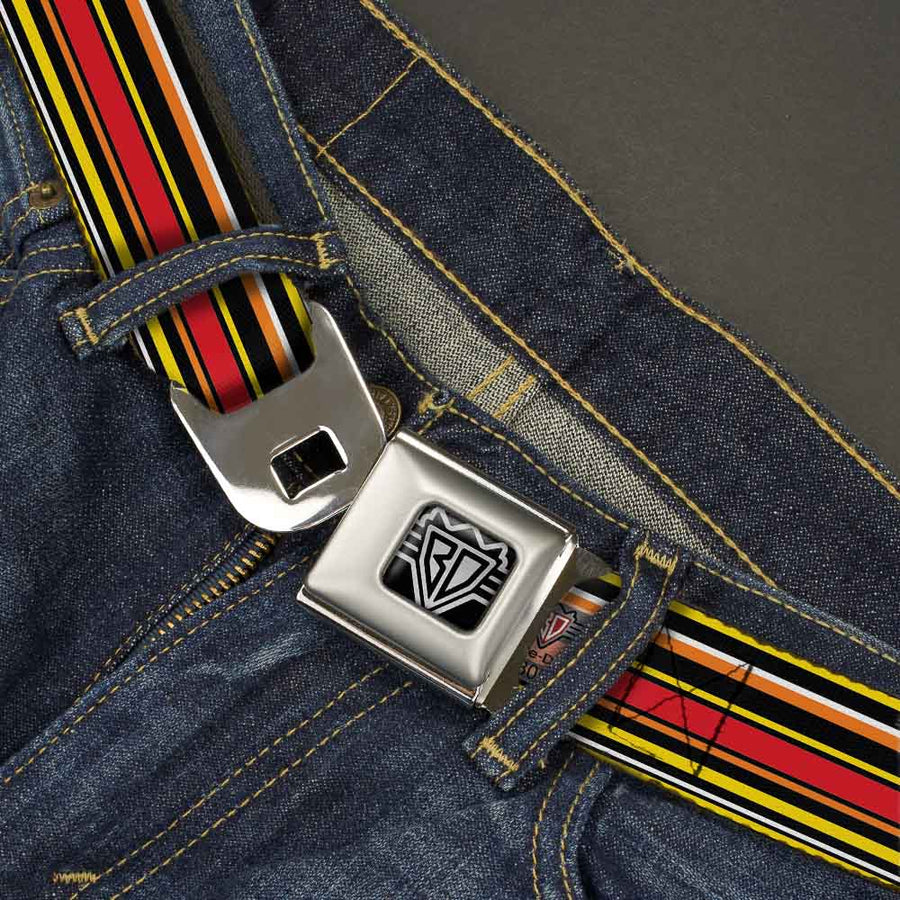 BD Wings Logo CLOSE-UP Full Color Black Silver Seatbelt Belt - Fine Stripes Black/Yellows/Orange/Red/White Webbing